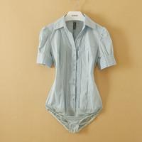 New Arrival Fashion Women Summer Elegant OL Short Sleeve 3 colors Shirt one-piece shirt novelty body blouse WSH-086