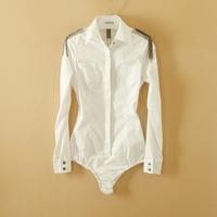 New Arrival Fashion Women Elegant OL Long Sleeve shirt slim white Shirt epaulette novelty body blouse S/M/L/XL WSH-088