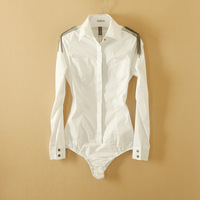 New Arrival Fashion Women Elegant OL Long Sleeve shirt slim white Shirt epaulette novelty body blouse S/M/L/XL WSH-088