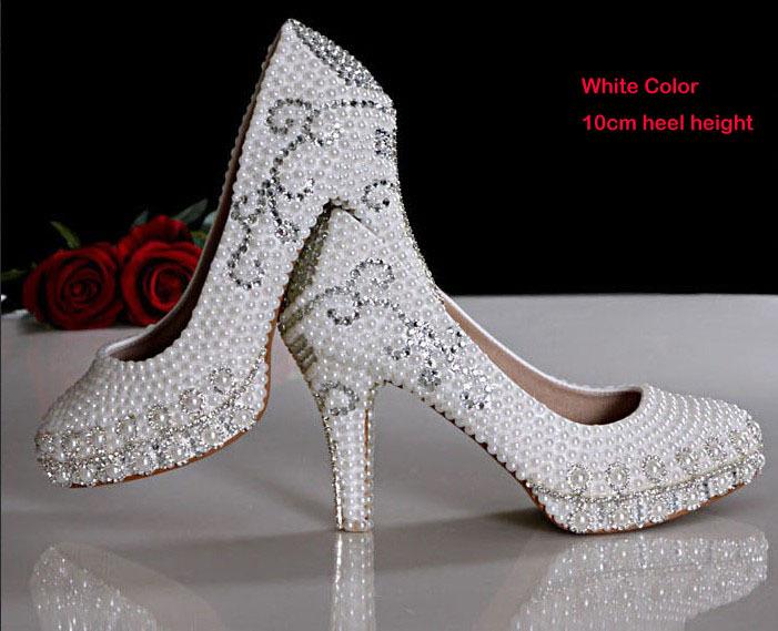 new arrival pretty wedding shoes imitation pearl white