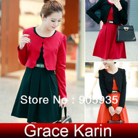 Free Shipping 1pc/lot Grace Karin Korean Women Sleeveless Crew Neck Dress + Coat 4 Size XS~L CL4961