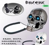 Free shipping Fearful Skull Shape Novelty Telephone Skull Flashing Phone Skull Phone
