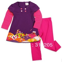 Wholesale-kids clothing 5pieces/ lot colorful buttons and printed beautiful flowers winter spring gilr sets