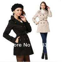 Hot Women Vogue Vintage Chic Cotton Long Sleeve Long Dust Coat Jacket