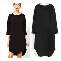 Women 3-Quarter Sleeve Dress Cotton Blends&Polyester Casual Blue Dress Plus Size XL Summer Spring Autumn Streetwear Dresswa