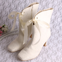 Winter Boots Women Knee High heels Square Heel Lace Wedding Shoes Ship Free