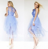 Wholesale Organza Appliques Round Neck Cocktail Dresses