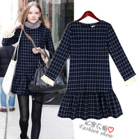 Free shipping Fashion women's 2013 winter slim all-match plaid skirt long-sleeve ruffle one-piece dresses fashion women dress