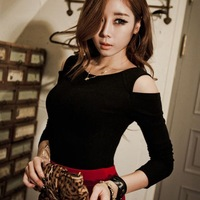 Autumn new arrival 2013 women's ol o-neck t shirt basic shirt sexy strapless long-sleeve T-shirt