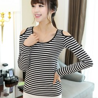 Autumn female 100% all-match cotton o-neck basic shirt sexy strapless horizontal stripe long-sleeve T-shirt
