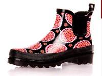 Free shipping Fashion women's tube rubber short rain boots rainboots daisied mules
