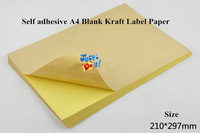 Self-adhesive A4 blank kraft label paper for laser inkjet printer, 50 Sheets A4 Sticky Kraft Paper+free shipping