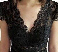 Sexy full lace V-neck pad short-sleeve women's cutout flower spaghetti strap vest basic shirt