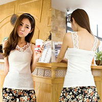 Summer all-match V-neck lace decoration small vest female thread cotton racerback sexy slim basic shirt small vest