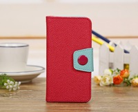 Lowest Price Double Colors Magnetic Flip Cover PU Leather Protective Case For iphone 5C With Card Holder With Stand Function