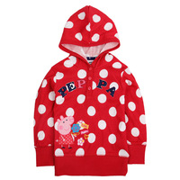 Free shipping 5pcs/lot 18~6y kids spring & autumn long sleeve polka dots hooded jacket with emboridery peppa pig