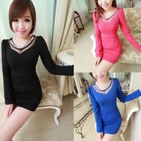 Women 3 Color Sex Lace Bead Collar Evening Dress Hip Package Long Sleeve Dress 77148-77150