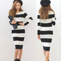 2013 fall winter new women fashion dresses white and black stripe cotton blended one-piece dress elastic casual dress S,M,L