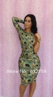 new 2013 nightclub packet buttock dress sexy peacock dress sleeve dresses