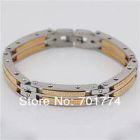 Punk Mens Stainless Steel Gold & Silver Tone Mini Clear Cubic Zirconia CZ Plain Block Link Chain Bracelet Christmas Gift Jewelry