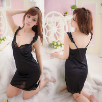Shuiyi lace decoration silk summer sleepwear nightgown women's temptation sexy lounge