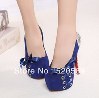 Hot sale fashion sexy girls red bottom high heels bowtie 2013 spring new arrive platform pumps wedding shoes size 35-39 Y1208