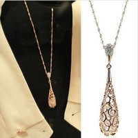 High Quality 2014 New Fashion Gold Plated Women's Hollow Waterdrop Austrian Crystal Pendant Sweater Costume Necklaces Hot Sale