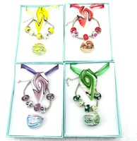 2013 fashion Charm women heart glass Jewelry Sets(pendant bracelet and ring Set)Wholesale with a gift box for free 4 colors
