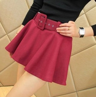 2013 Hot Fashion A-Line Sexy Women Skirt With Belt Short Mini Skirts For Autumn And Winter Black And Wine Red For Choose