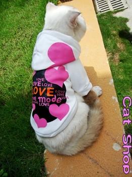 Бесплатная доставка кошка одежды Любящее сердце кошки с капюшоном кошки зимнее пальто кошки спортивной одежды