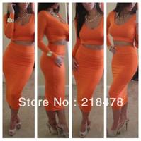 5 Colors Wholesale New 2013 Fashion Sexy Dresses 2PCS Long Sleeve Dress Women Bandage Casual Dress S,M,L