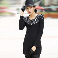 2014 spring new fashion slim diamond PU leather patchwork black t shirt women's extra long tops shirts for leggings tshirt SH105