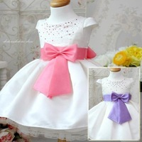 2013 new fashion children clothing girls bow dress baby crystal princess dresses 2 color pink blue  Free shipping