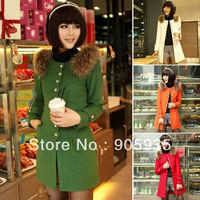 Fast Delivery! Grace Karin Red/White/Green/Orange Long Women Single Breasted Wool Blends Coat CL4963
