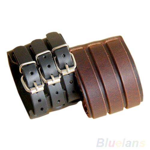 Punk Rock New 2 Layer Belt Men Genuine Cow Leather Bracelet 3 Buckle Wristband Cuff Bangle Hot Sale 00JK(China (Mainland))