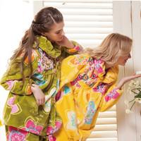 A delicate coral fleece sleepwear 2013 autumn and winter women's jade marten velvet print lounge set robe