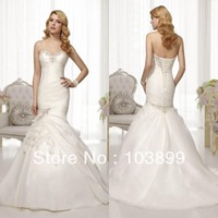 Hot Selling Sweetheart Corset Back Organza Mermaid Wedding Dress with Petals 2014 Romantic