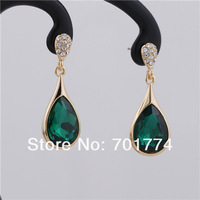 Womens 18K Yellow Gold Plated Green Oval Teardrop Clear Crystals Pave Drop Dangle Earrings Christmas Gift Jewelry for Girlfriend