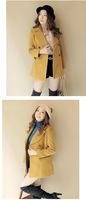 2013 Free Shipping Wholesale Autumn and Winter School Style Four Colors Double-Breasted Woolen Slim Fit Cashmere Wind Coat