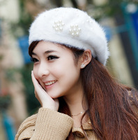 Autumn and winter beret hat female knitted hat knitted rabbit fur hat winter women's