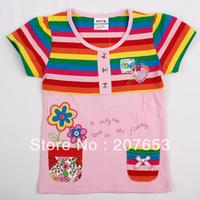 NEW Free shipping 5pcs/lot  children clothes girls summer stripe  t-shirt  girls emboridery tops girls fashion tees
