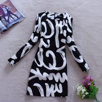2014 New Women Spring Winter Fashion Abstract Dishevelling Letter Doodle Print Elegant Slim Long Sleeve O Neck Dress PH0351