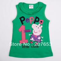 NEW Free shipping 5pcs/lot  children clothes girls cartoon tank girls summer t-shirt girls peppa tops tees 1-6years
