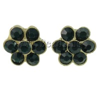 Free shipping!!!Zinc Alloy Stud Earring,Female Jewelry, Flower, gold color plated, with rhinestone, nickel, lead & cadmium free