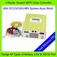 CE RoHS MPPT solar charge controller 48V 40A 12V 24V 48V auto work with RS232 Lan DC load Ctrl, 40A 48V PV regulator easy