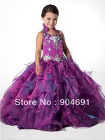 Purple Yarn Junior Prom Party Dress Stage Performance Gown Sequins Flower Girl Dress Pageant Girl dresS Gown F131215