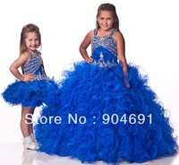Blue Organza Junior Prom Party Dress Stage Performance Gown Beads Flower Girl Dress Princess Pageant Girl dress Gown F131223