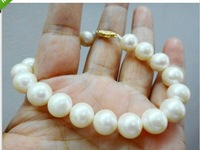 """7.5-8"""" 10-11MM NATURAL SOUTH SEA GENUINE PERFECT ROUND WHITE PEARL BRACELET 14K"""