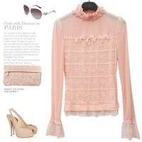 Sweet laciness stand collar lace patchwork gauze princess sleeve 2013 female long-sleeve basic T-shirt