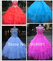 Blue Red Fuchsia Junior Prom Party Dress Stage Performance Gown Beads Flower Girl Dress Pageant Girl dresS Gown F131217